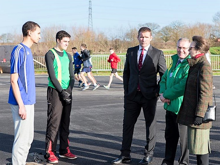 Adam Brookes, David Thomas, ex-England Rugby international Phil Vickery, YOSC chair Jeremy Dale and the Princess Royal.