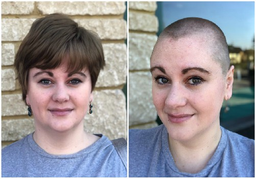 Jenny before and after her head shave