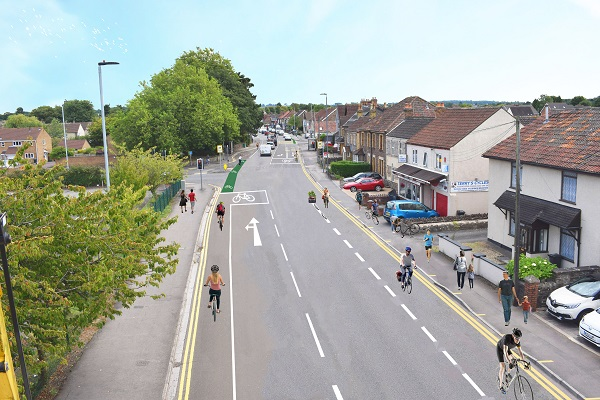 Bike lanes for main road into Yate