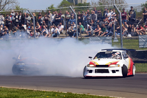 The Drift Outlaws entertain the crowds with their drifting displays