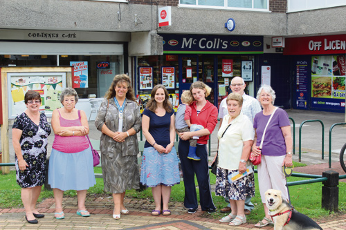Lady Bathurst, third from left, with Councillor Cheryl Kirby, far left, Mary Wright, chairwoman of Abbotswood Action Group, third from right, Yate mayor Tony Davis and local residents at Abbotswood Shopping Centre.