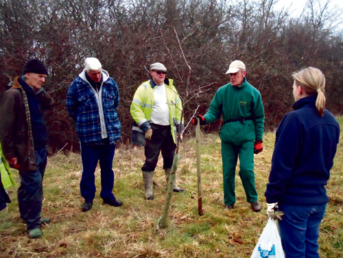 Wapley Bushes nature reserve volunteers given a safety briefing by Tim Fairhead before starting work.