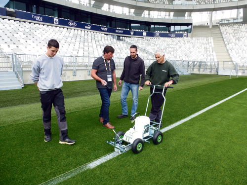 Mark Rodman, 2nd Left with staff at Stade Matmut Atlantique, Bordeaux
