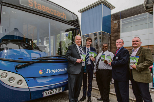 Cllr Colin Hunt, James O'Neil - Commercial Manager at Stagecoach, Wayne Johnson - South Gloucestershire Council's Public Transport Manager, Peter Sheldon - Engineering Director at Stagecoach, Mark King - South Gloucestershire Council's Head of StreetCare and Transport