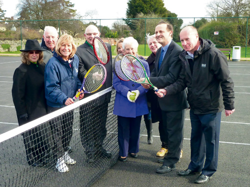 Steve Webb MP, second from right, with representatives of Yate Town Council, the local community and SITA Trust at the re-opening of Yate's community tennis courts.