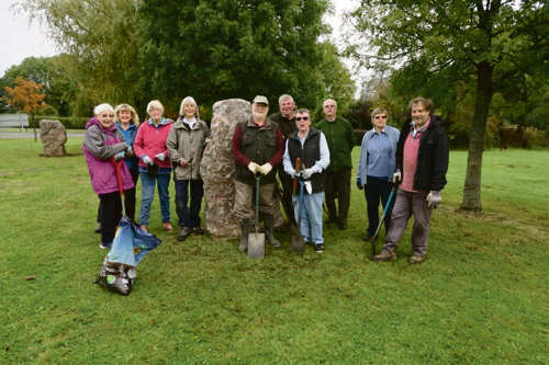 The Sodbury In Bloom team and Rotary Club members planting crocuses at Smart's Green roundabout, Chipping Sodbury.