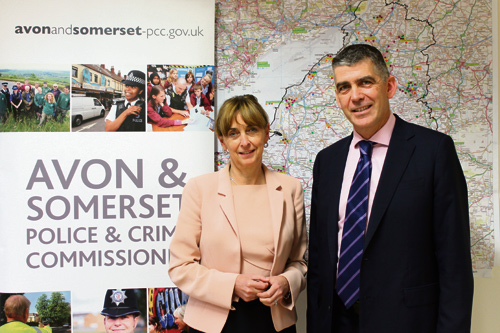 Andy Marsh, the new chief constable of Avon and Somerset police with police and crime commissioner Sue Mountstevens