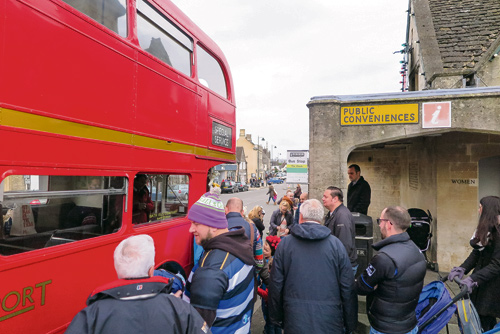 Shoppers prepare to board the Routemaster at the TIC on Small Business Saturday
