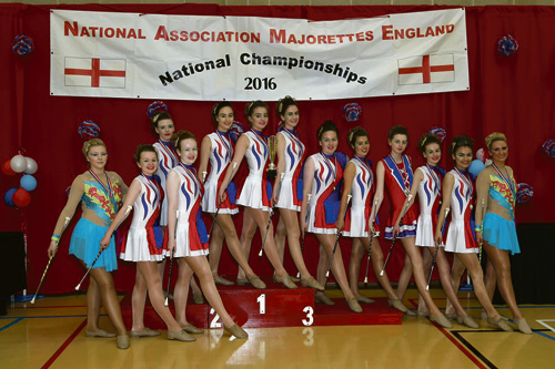 Yate Star Twirlers on the podium for their winning routine.