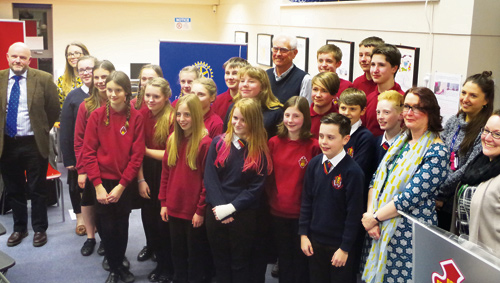 Students, teachers and Rotary Club of Chipping Sodbury members